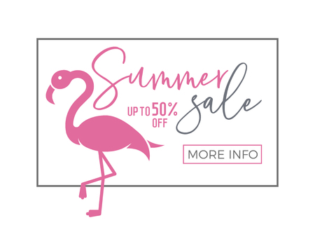 Summer sale banner with calligraphic text and cute flamingo and thin line frame. Vector illustration for ecommerce, online shopping 版權商用圖片 - 114864057