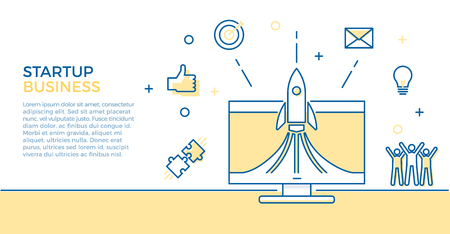Startup business banner. Vector illustration for business related subjects. Rocket launch on computer with different business icons like team cheering, lightbulb idea, emails, aim, thumbs up, puzzle pieces 版權商用圖片 - 114864058