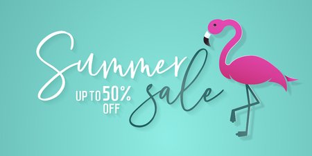 Summer sale background with flamingo in paper art style and calligraphic text for commerce, e-commerce, online shopping, banners, posters, vouchers, flyers etc. 版權商用圖片 - 114864059