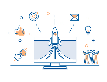 Rocket launch on a computer screen with business icons banner. Vector illustration concept for successful startup launch, teamwork, business, social media, creative strategies, advertisement