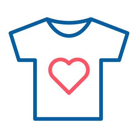 T-shirt Icon with a heart symbol. Vector thin line illustration. For volunteering and charity associations, groups, community, non profit organizations. Can also represent love and passion Stock Illustratie