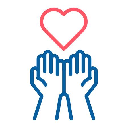 Mains vides recevant l'icône de coeur rouge. Accepter l'amour, l'aide, la gentillesse, le don. Illustration vectorielle fine ligne. Symbolise le don, l'aide, la charité, la philantrophie, l'amour, la passion, la gentillesse, la paix.