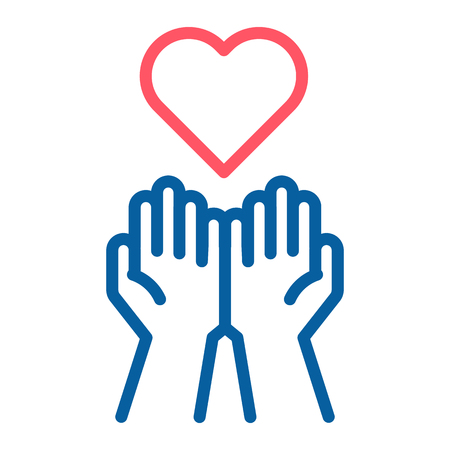 Empty hands receiving red Heart icon. Accepting love, help, kindness, donation. Vector thin line illustration. Symbolizes donation, help, charity, philantrophy, love, passion, kindness, peace. Illustration