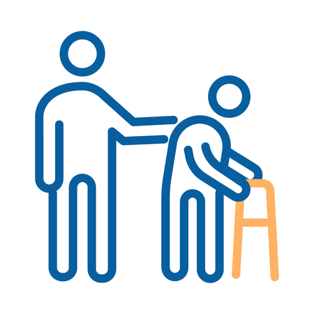 Person helping old patient. Vector thin line icon illustration. Nursing home, senior and elders support, healthcare for the older people