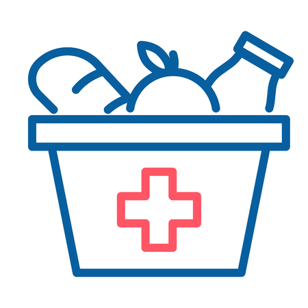Food box with a red cross icon. Vector thin line illustration. Grocery provisions donation. Helping those in need, homeless people, disaster victims.