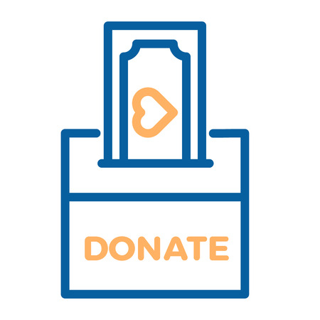 Donation box with a generous offer. Cash bill with an heart, kind money. Vector thin line icon illustration. Charity, donation, volunteering, philantropy, help and kindness concepts. 向量圖像