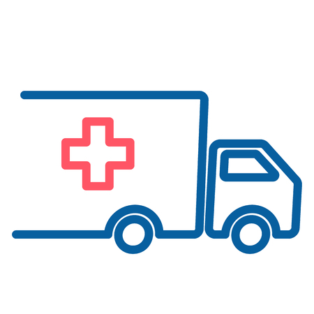 Truck with red cross. medical and food supplies icon. Vector thin line illustration. Charity, donation, help and urgency concepts. 向量圖像