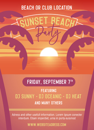 Sunset party template for beach event. Vector illustration design easily editable with your text. Beach illustration with palmtrees and the sunset at the sea. Nightlife and music in summer