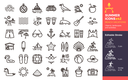 Summer icons, Beach Vacations. Objects landscapes and activities. Vector thin line illustration with Editable Stroke, easily editable. Seasonal, holiday, vacation, traveling. 向量圖像