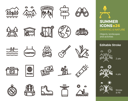 Summer icons, Camping and Nature. Objects, landscapes and activities. Vector thin line illustration. Editable stroke, easily editable. Vacation in mountains, adventure outdoors, traveling. Stock Illustratie