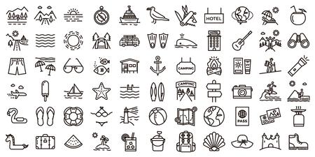 Große Sommerferien Icon Set. Vektor dünne Linie Illustrationen mit Objekten, Aktivitäten und Orten im Zusammenhang mit Reisen, Tourismus, im Freien in Strand und Berg, Camping, Resorts und Hotels. Vektorgrafik