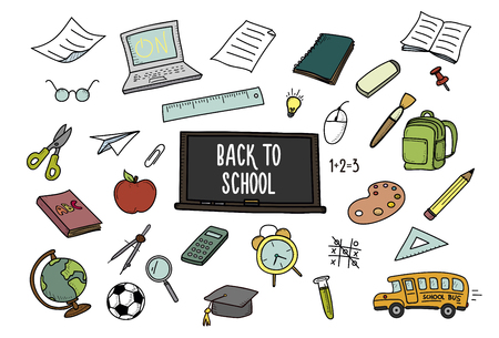 Back to School doodles. Vector hand drawn icons - school and classroom related objects Illustration