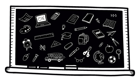 Chalkboard with school related doodles. Vector hand drawn icons - school and classroom related objects Illustration