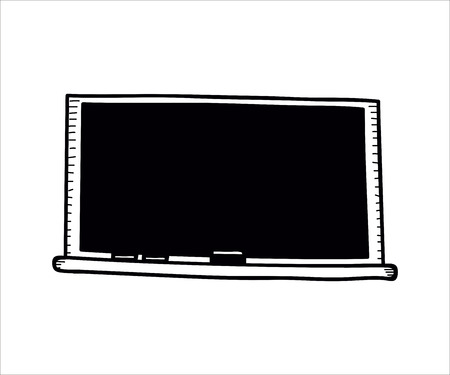 School objects - empty blackboard with chalk and eraser. Vector doodle illustration