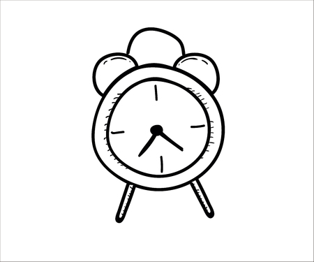 Bedroom alarm clock. Vector doodle illustration