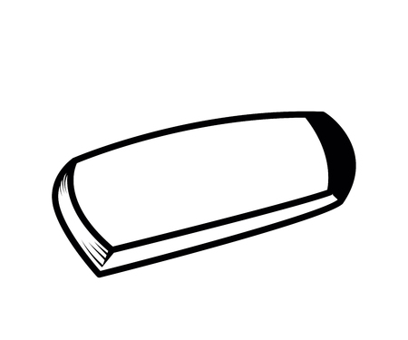 Office and school objects - Rubber eraser. Vector doodle illustration