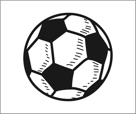 Soccer football icon. Vector doodle illustration