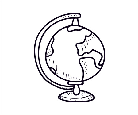 Earth globe icon. Vector doodle illustration