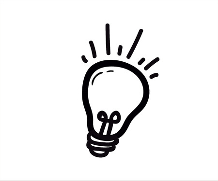 Lightbulb icon. Lamp vector doodle. Illustration