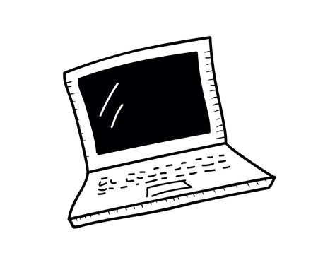 Laptop icon. Vector doodle illustration