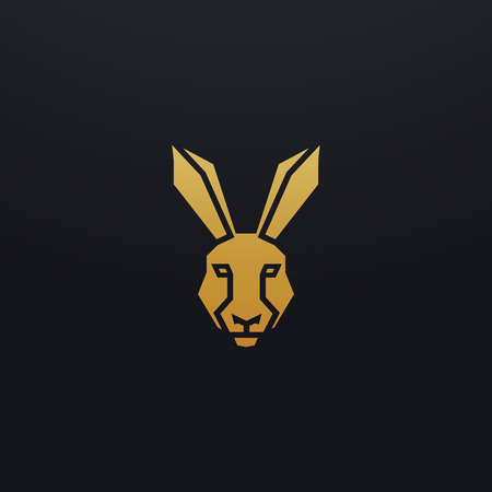 Stylized hare head icon illustration. Vector glyph, rabbit animal design with golden color