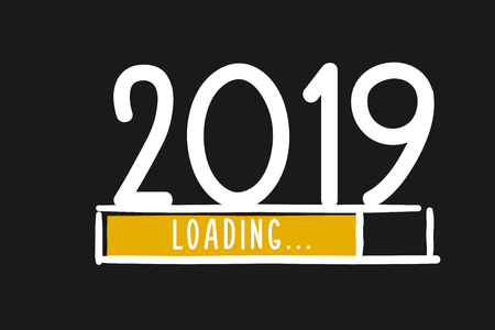 Doodle nieuwjaar downloadscherm. Voortgangsbalk bereikt bijna oudejaarsavond. Vectorillustratie met laden van 2019 Vector Illustratie