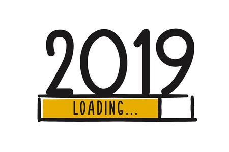 Écran de téléchargement du nouvel an Doodle. La barre de progression atteint presque le nouvel an. Illustration vectorielle avec chargement 2019