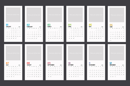 Modern minimal vertical Calendar Planner Template for 2018. Vector design editable template