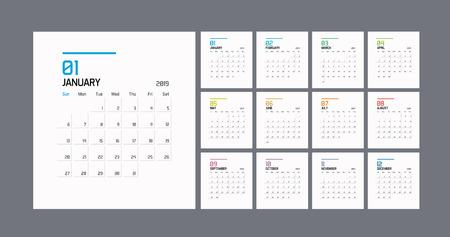 Modern minimal Calendar Planner Template for 2019. Vector design editable template