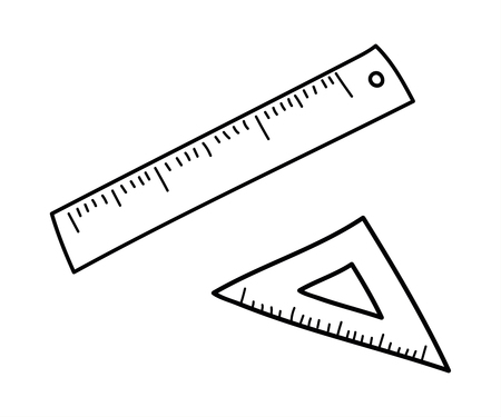 Measuring Tools - Ruler and triangle. Vector doodle illustration