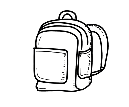 School objects -  School bag. Vector doodle illustration