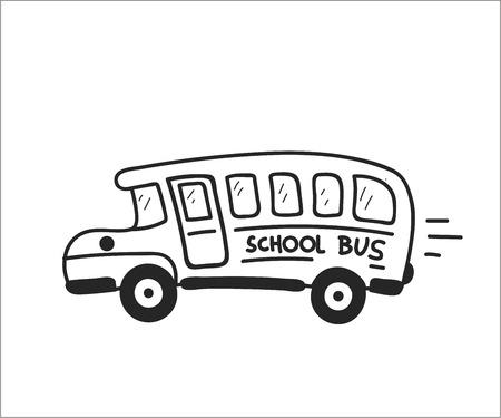 School Bus. Vector doodle illustration