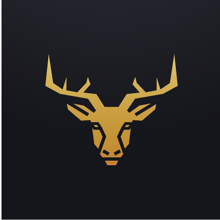 Stylized deer head icon illustration. Vector glyph, tribal stag animal design with golden color