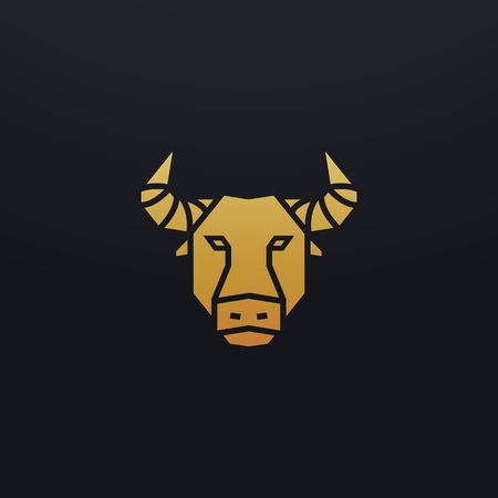 Stylized bull head icon illustration. Vector glyph, tribal wild animal design with golden color