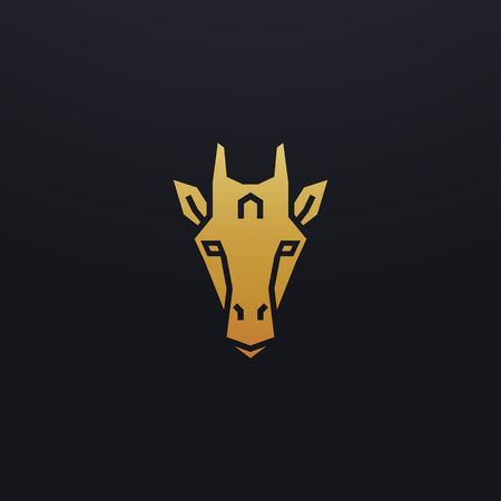 Stylized giraffe head icon illustration. Vector glyph, tribal wild animal design with golden color