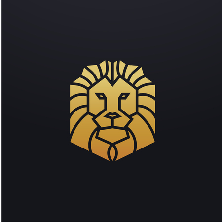 Stylized lion head icon illustration. Vector glyph, feline animal design with golden color