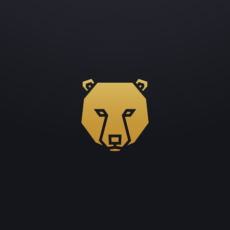 Stylized bear head icon illustration. Vector glyph, wild animal design with golden color