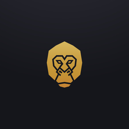Stylized monkey head icon illustration. Vector glyph, ape gorilla animal design with golden color