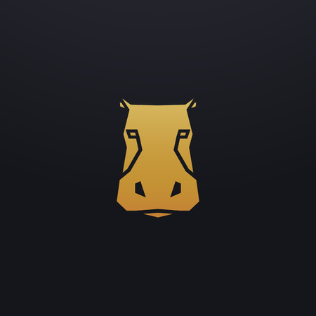 Stylized hippopotamus head icon illustration. Vector glyph, hippo animal design with golden color 向量圖像
