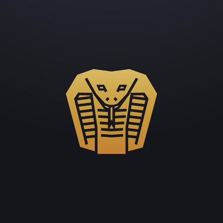 Stilisierte Schlangenkopf-Symbolillustration. Vektor Glyphe, Kobra Tier Design mit goldener Farbe Vektorgrafik