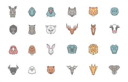 Set of 24 animal heads. Vector zoo icon collection in tribal geometric style and trendy color set. Drawings of exotic, wild and domestic animals in filled outline style