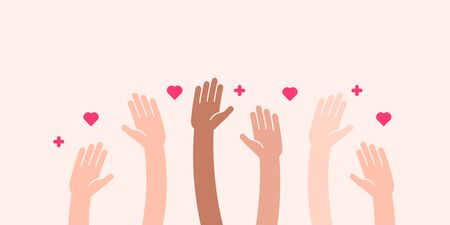 Raised helping hands vector. Illustration for volunteer and charity work in flat style with arms and geometric elements, hearts.  Crowd of people ready and available to help and contribute. Positive foundation, business, service.