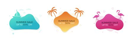 Set of trendy colorful summer sale banners with thematic elements. Vector geometric template liquid and wavy shapes in different colors. Modern abstract tropical and seasonal banner designs with palm trees, flamingos, boat and surfboards