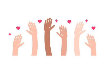 Raised helping hands vector flat icon. Illustration for volunteer and charity work in flat style with arms and geometric elements, hearts.  Crowd of people ready and available to help and contribute. Positive foundation, business, service. 向量圖像