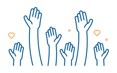 Raised helping hands vector icon. Illustration for volunteer and charity work in flat style with arms and geometric elements, hearts.  Crowd of people ready and available to help and contribute. Positive foundation, business, service.