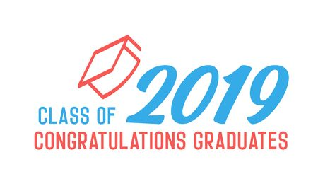 Class of 2019 Congratulations graduates design. Vector illustration for party invites, banners, backgrounds, covers. Graduation day, prom night and other academic events. 版權商用圖片 - 126215305