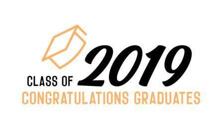 Class of 2019 Congratulations graduates design. Vector illustration for party invites, banners, backgrounds, covers. Graduation day, prom night and other academic events. 版權商用圖片 - 126215314