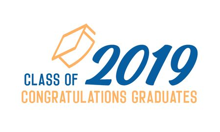 Class of 2019 Congratulations graduates design. Vector illustration for party invites, banners, backgrounds, covers. Graduation day, prom night and other academic events. 版權商用圖片 - 126215328