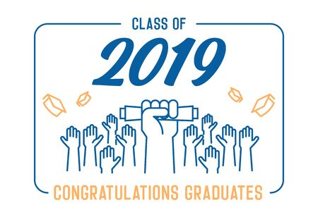Graduation Day. Class of 2019 celebration. Graduates celebrating and throwing their academic hats into the air. End of academic year. Hand grabbing diploma certificate as a sign of success. - Vectorial 版權商用圖片 - 126215349