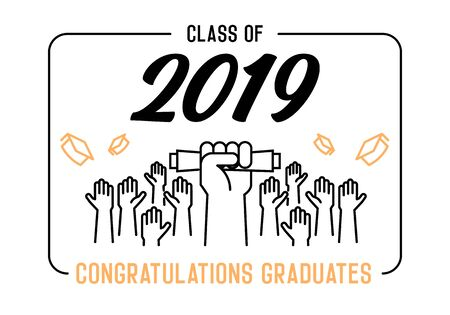 Graduation Day. Class of 2019 celebration. Graduates celebrating and throwing their academic hats into the air. End of academic year. Hand grabbing diploma certificate as a sign of success. - Vectorial